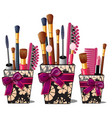 makeup brushes mascara comb in box with pink bow vector image