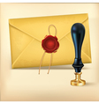 Brown envelope and Rad wax with Wax seal stamp vector image