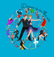 happy salsa dancers couple isolated on white icon vector image