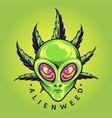 alien weed cannabis leaf cartoon vector image vector image
