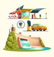 alternative energy sources cartoon set vector image vector image