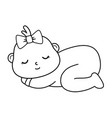 basleeping icon in black and white vector image
