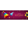 birthday concept banner horizontal with realistic vector image