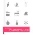 black christmas icon set vector image vector image