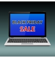 Black Friday Sale message on laptop vector image vector image