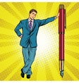 Businessman with fountain pen vector image vector image