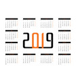 calendar 2019 vector image vector image