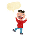 cartoon crazy happy man with speech bubble vector image vector image