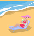 cartoon woman lies on deckchair sandy beach vector image vector image