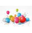 celebrations balloon with ribbon and confetti vector image