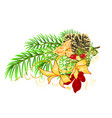 christmas and new year decorative branch vector image