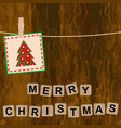 christmas card with wooden blocks on wooden vector image vector image