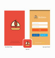 company boat splash screen and login page design vector image vector image