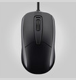 computer black mouse with wheel isolated on gray vector image vector image