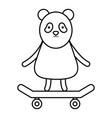 cute bear panda in skateboard character vector image