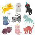 cute cats faces hand drawn characters sweet vector image vector image