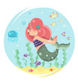 cute mermaid girl swimming in sea ocean water vector image vector image