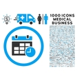 Date and Time Icon with 1000 Medical Business vector image vector image