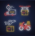 delivery neon light icons set shipping service vector image vector image