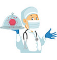 doctor hold a virus under glass lid - i vector image vector image