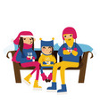 family in winter clothes sitting on a bench vector image vector image