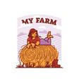 girl farmer resting in field on a haystack vector image vector image