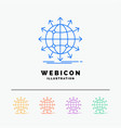 globe network arrow news worldwide 5 color line vector image