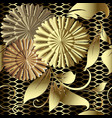 gold floral 3d seamless pattern textured grid vector image