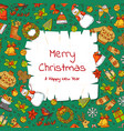 hand drawn colored christmas elements vector image vector image