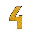 hand drawn golden number 4 isolated on white vector image vector image