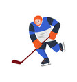 heavyset hockey player in a blue uniform and a vector image vector image