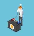 isometric businessman recharge his idea from vector image vector image