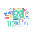 kid holidays happy kid logo template colorful vector image vector image