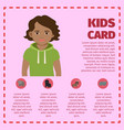 kids card infographic with young boy vector image vector image