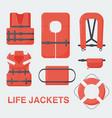 life jacket flat set vector image vector image