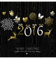 Merry Christmas New Year 2016 card gold decoration vector image vector image