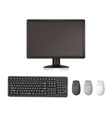 monitor and keyboard and mouses vector image vector image