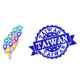 mosaic map of taiwan with map pins and grunge vector image