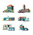 municipal buildings city cars near facade vector image vector image