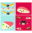 pattern with sushi vector image vector image