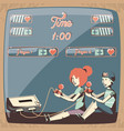 people playing video game retro vector image vector image