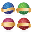 planet globes in golden ribbons vector image