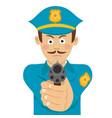 policeman with mustache holding a gun vector image vector image