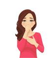 sad beautiful woman coughing vector image vector image