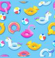 seamless pool pattern unicorn flamingo duck vector image vector image