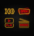 set neon sign vector image vector image