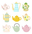 set of kitchen kettle of different shapes vector image vector image