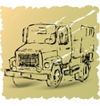 Sketch of a truck on a brown background vector image vector image