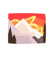snowy rocky mountains at sunset beautiful winter vector image