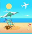 summer beach umbrella chair beach ball plane backg vector image